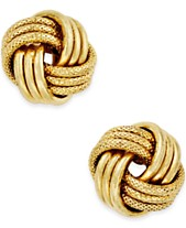 46d3036d9 Italian Gold Love Knot Polished & Textured Stud Earrings in 14k Gold