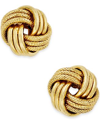 Italian Gold Love Knot Polished Textured Stud Earrings In 14k Gold