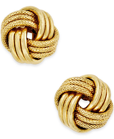 Italian Gold Love Knot Polished & Textured Stud Earrings in 14k Gold