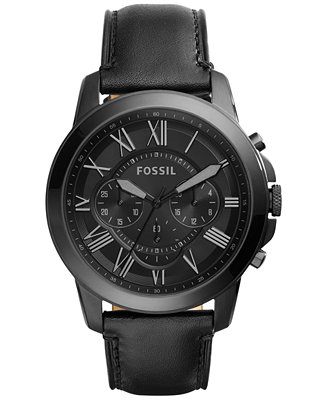 Fossil Men's Chronograph Grant Black Leather Strap