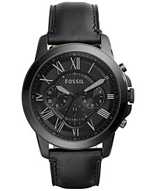 Fossil Men's Chronograph Grant Black Leather Strap Watch 45mm FS5132