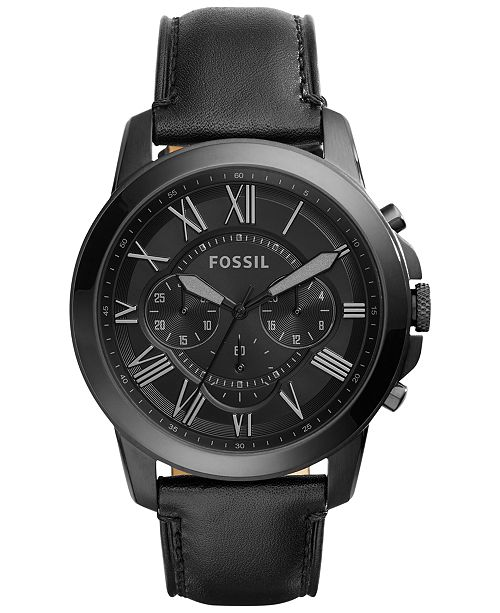 ... Fossil Men s Chronograph Grant Black Leather Strap Watch 45mm FS5132 ... 4440232fd9e