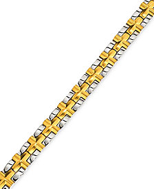 Men's Satin Cross Bracelet in Gold-Plated IP Stainless Steel