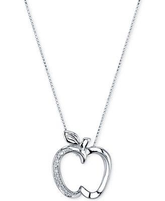 Disney diamond accent apple pendant necklace in sterling silver disney diamond accent apple pendant necklace in sterling silver mozeypictures Image collections