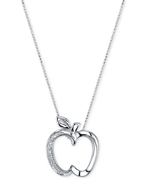 Disney diamond accent apple pendant necklace in sterling silver main image main image aloadofball Images