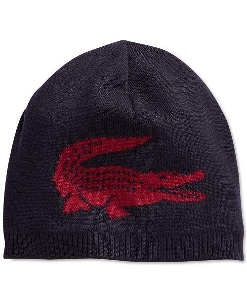 63cecdb3a4c2 Lacoste Large Contrast Reversible Croc Beanie   Reviews - Hats ...