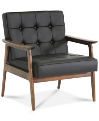 Bixby Faux Leather Mid Century Modern Club Chair, Quick Ship
