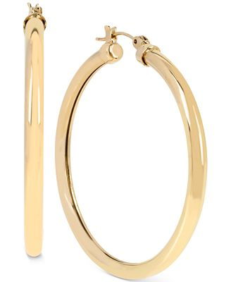 Hint of Gold Tube Hoop Earrings in 14k Gold over Sterling Silver