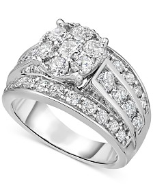 Diamond Cluster Engagement Ring (3 ct. t.w.) in 14k White Gold