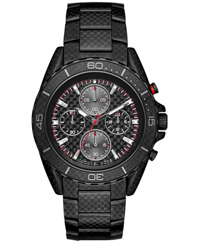 michael kors men s chronograph jetmaster carbon fiber stainless michael kors men s chronograph jetmaster carbon fiber stainless steel bracelet watch 43mm mk8455
