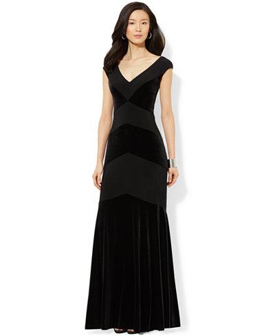 Lauren Ralph Lauren V Neck Velvet Gown Dresses Women