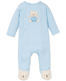 Little Me Baby Boys Cute Blue Bear Coverall