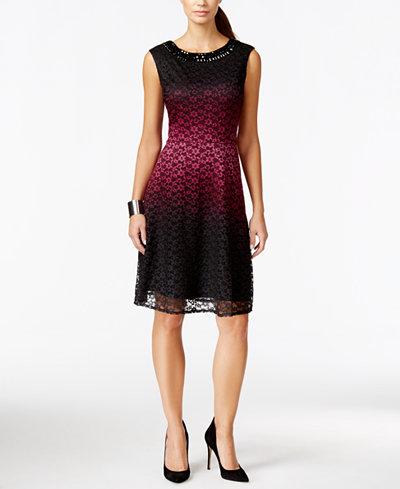 Sandra Darren Petite Lace Ombr� Fit & Flare Dress