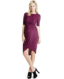 Jessica Simpson Maternity Ruched Elbow-Sleeve Dress