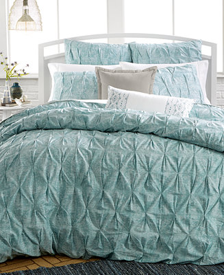 Closeout Bar Iii Diamond Pleat Mineral Blue Bedding