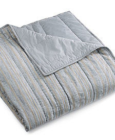 Hotel Collection Linen Stripe King Coverlet, Created for Macy's