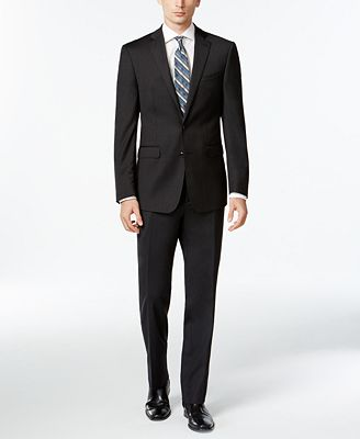 Calvin Klein Solid Wool Charcoal Slim X Fit Suit