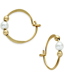 Jody Coyote 12k Gold-Filled Imitation Pearl Beaded Hoop Earrings