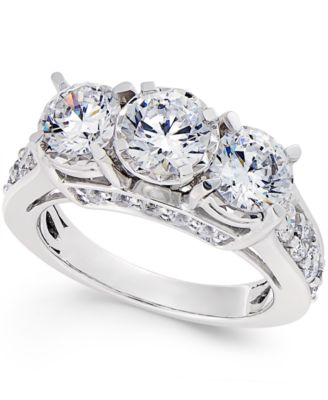 Diamond 3 Stone Ring (3 Ct. T.w.) In 14k White Gold