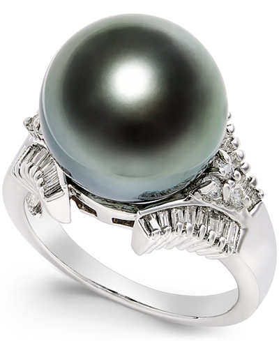 Cultured Tahitian Black Pearl (13mm) and Diamond (3/5 ct. t.w.) Ring in 14k White Gold