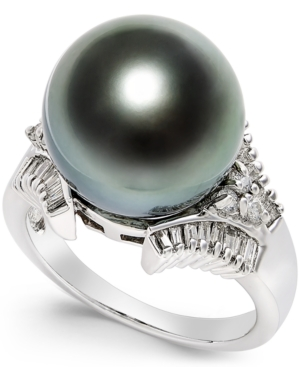 Cultured Tahitian Black Pearl (13mm) and Diamond