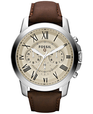 Fossil Men's Chronograph Q Grant Brown Leather