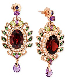 Crazy Collection® Garnet (10 ct. t.w.) and Multi-Stone (3-5/8 ct. t.w.) Drop Earrings in 14k Rose Gold
