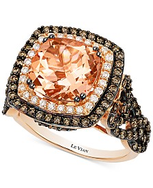Le Vian® Peach Morganite (2-9/10 ct. t.w.) and Diamond (1-1/3 ct. t.w.) Ring in 14k Rose Gold, Created for Macy's