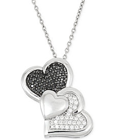 Wrapped in Love™ Black and White Diamond Heart Pendant Necklace (1/3 ct. t.w.) in Sterling Silver, Created for Macy's