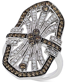 Le Vian Chocolatier® Chocolate Deco Estate™  Diamond ( 9/10 ct. t.w.)  Ring in 14k White Gold