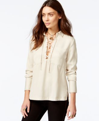 free people under your spell laceup shirt