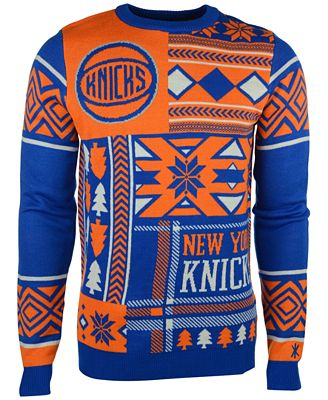 Forever Collectibles Mens New York Knicks Patches Christmas Sweater