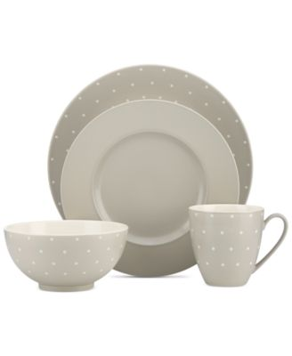 Larabee Dot Grey Collection Stoneware 4-Pc. Place Setting