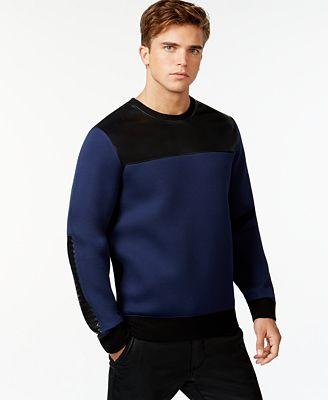GUESS Colorblock Crew-Neck Sweatshirt - Hoodies & Sweatshirts ...