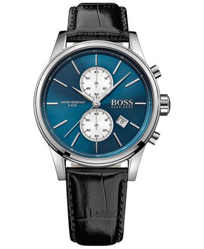 BOSS Hugo Boss Men's Chronograph Jet Black Leather Strap Watch 41mm 1513283