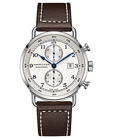 Hamilton Men's Swiss Automatic Chronograph Khaki Navy Brown Leather Strap Watch 44mm H77706553