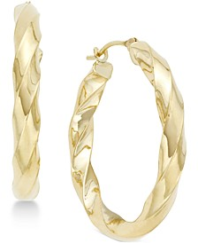 Square Twist Hoop Earrings in 10k Gold
