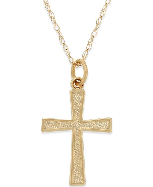 Macy's Small Cross Pendant Necklace in 14k Gold