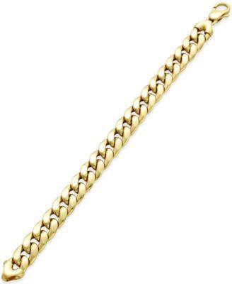 Cuban Chain Link Bracelet in 14k Gold Bracelets Jewelry