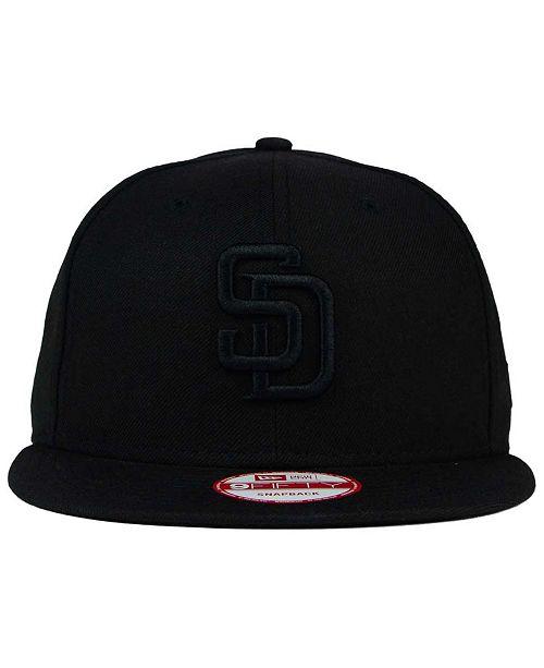 8bb14e812e4 New Era San Diego Padres Black on Black 9FIFTY Snapback Cap - Sports ...
