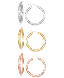 Set of Three Textured Hoop Earrings in 14k Tri-Gold Vermeil
