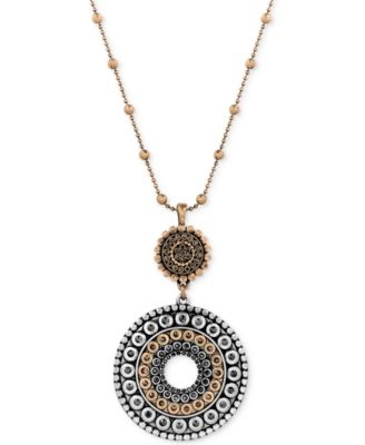 Image of Lucky Brand Two-Toned Decorated Disc Pendant Necklace