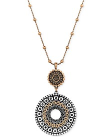 Two-Toned Decorated Disc Pendant Necklace