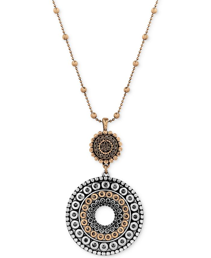 Lucky Brand - Two-Toned Decorated Disc Pendant Necklace