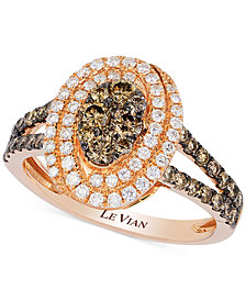 Le Vian Chocolatier® Chocolate Deco Estate™ Diamond Framed Cluster Ring (1 ct. t.w.) in 14k Rose Gold