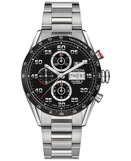 Tag Carrera Watch >> Men S Swiss Automatic Chronograph Carrera Calibre 16 Stainless Steel Bracelet Watch 43mm