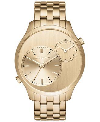 A|X Armani Exchange Men's Gold-Tone Stainless Steel Bracelet Watch 48mm AX2176