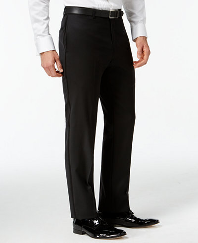 Tommy Hilfiger Black Classic-Fit Tuxedo Pants - Suits & Suit ...