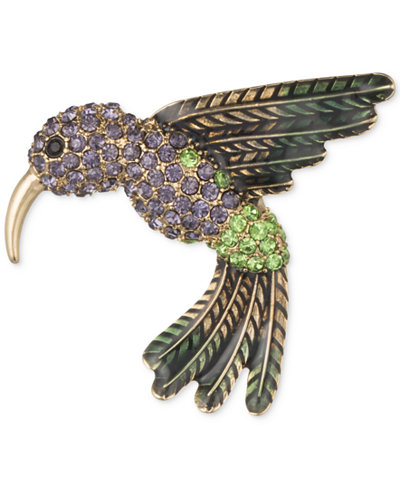 Anne Klein Gold-Tone Multi-Crystal Humming Bird Pin, Created for Macy's