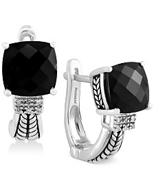 EFFY® Black Onyx (3-1/2 ct. t.w.) and Diamond Accent Earrings in Sterling Silver